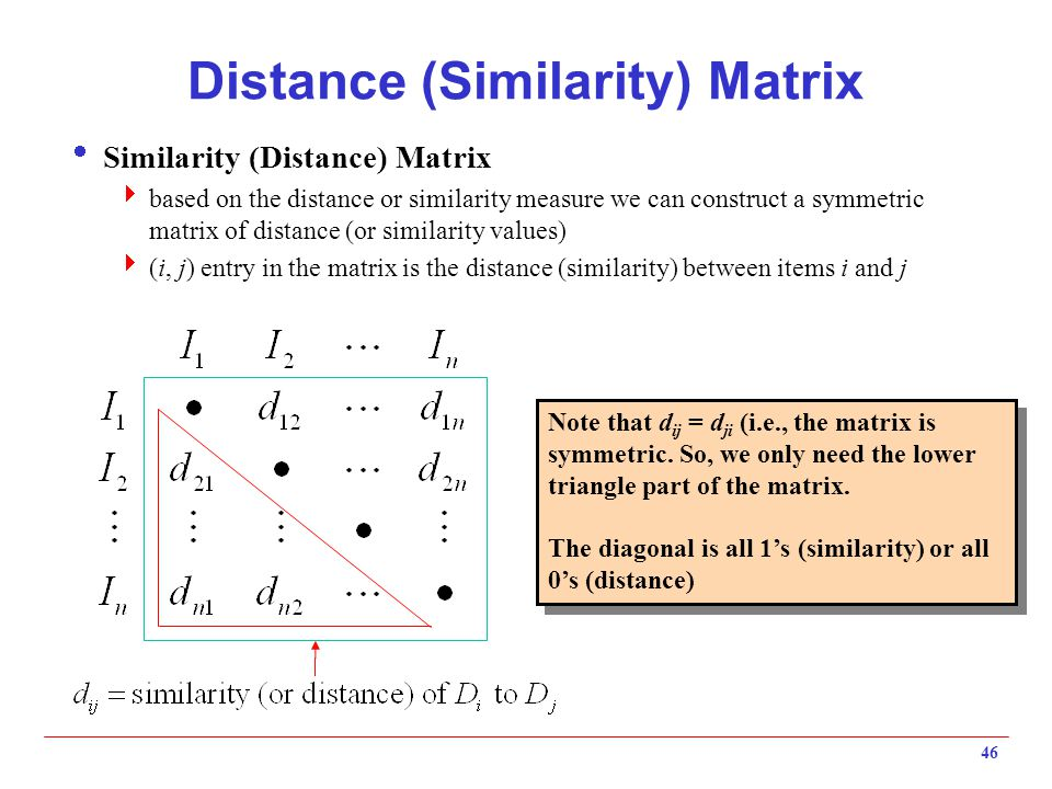 46 Distance (Similarity) Matrix Note that d ij = d ji (i.e., the matrix is symmetric. So, we only need the lower triangle part of the matrix. The diag