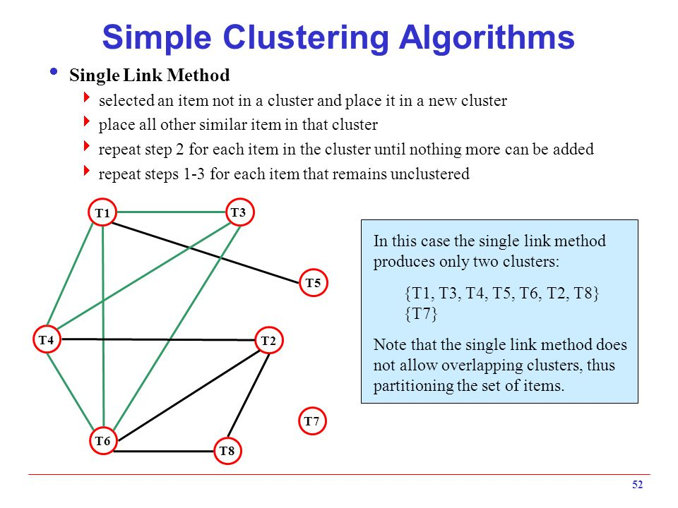 52 Simple Clustering Algorithms  Single Link Method  selected an item not in a cluster and place it in a new cluster  place all other similar item
