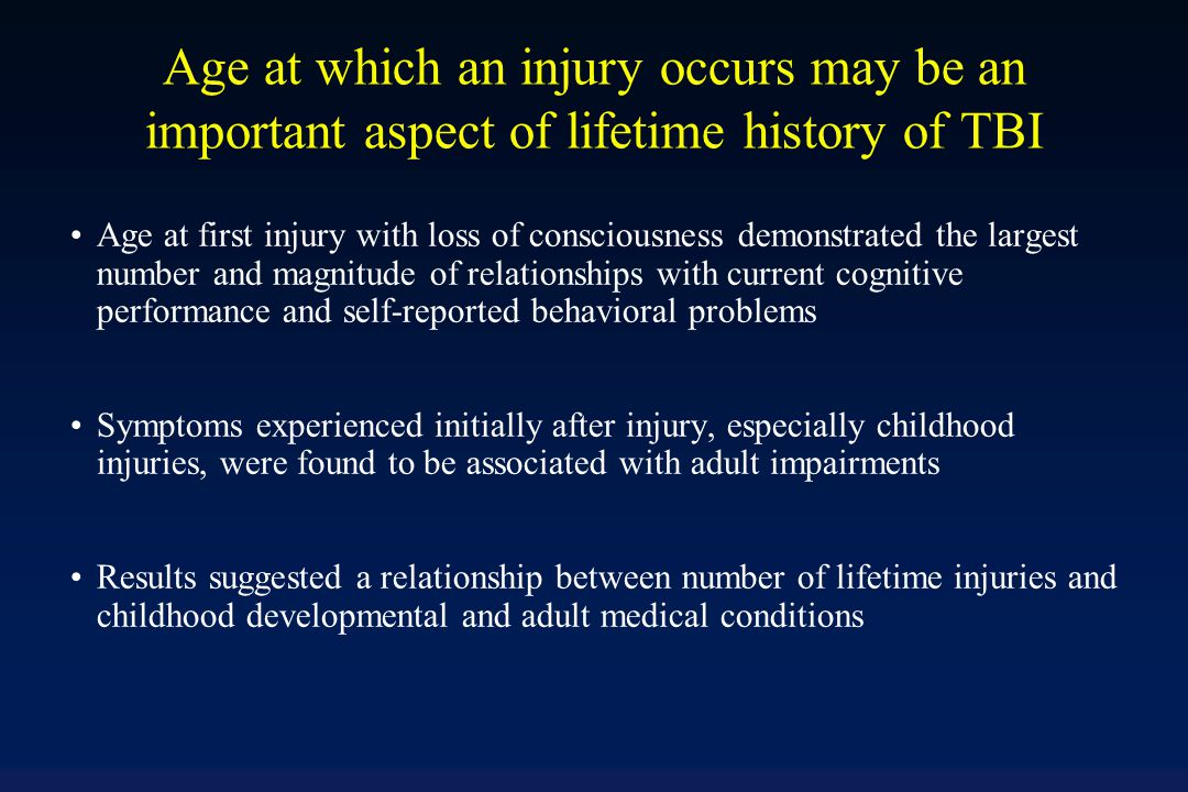 Scoring (continued) Worst Injury (1-5): If responses to #1-5 are no classify as 1 improbable TBI .