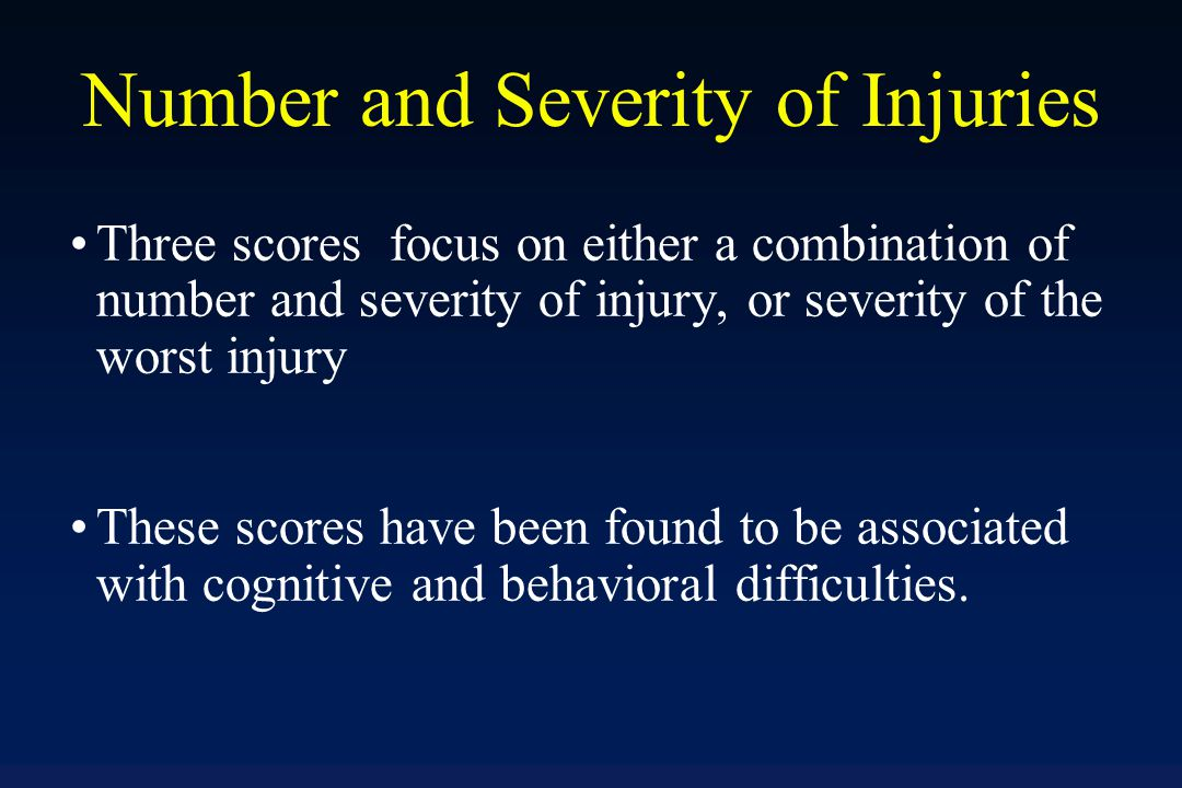 Age at which an injury occurs may be an important aspect of lifetime history of TBI Age at first injury with loss of consciousness demonstrated the largest number and magnitude of relationships with current cognitive performance and self-reported behavioral problems Symptoms experienced initially after injury, especially childhood injuries, were found to be associated with adult impairments Results suggested a relationship between number of lifetime injuries and childhood developmental and adult medical conditions