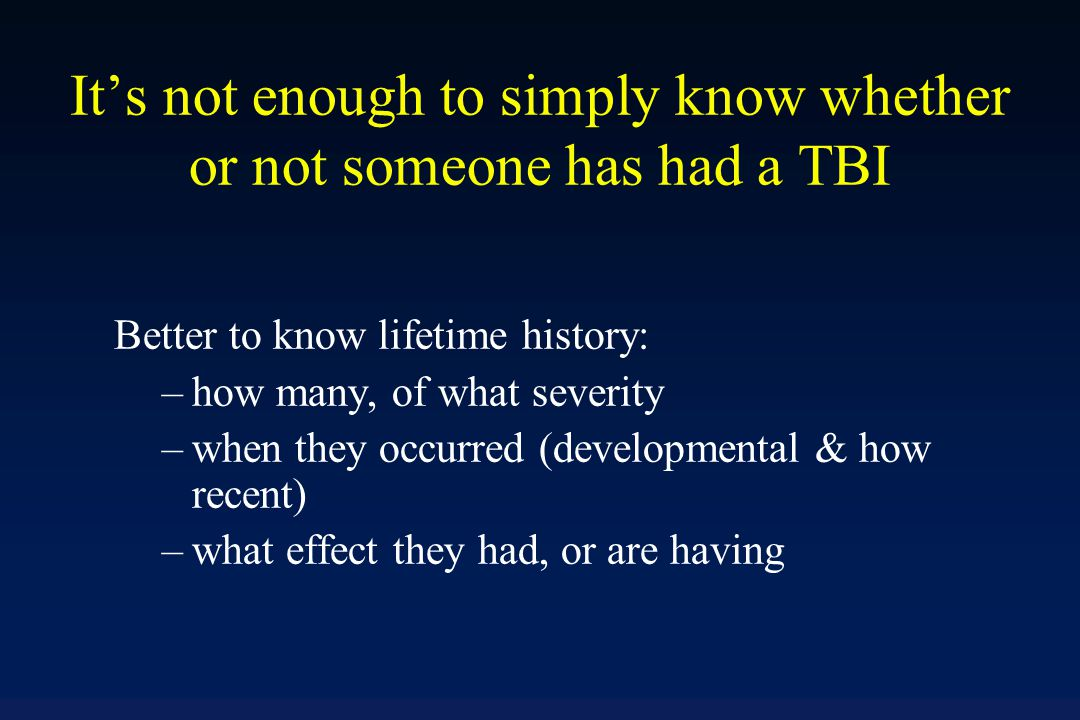 Why Screen for TBI.
