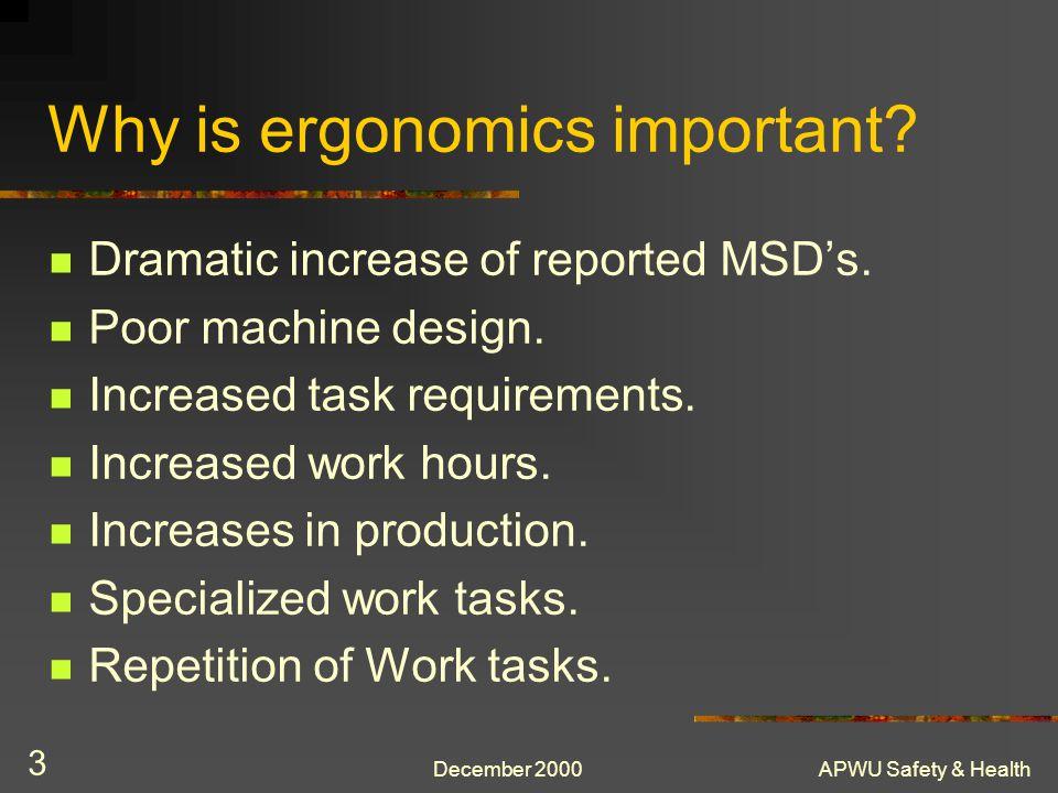 APWU Safety & Health 14 OSHA Ergonomics Chronology Click on the Picture