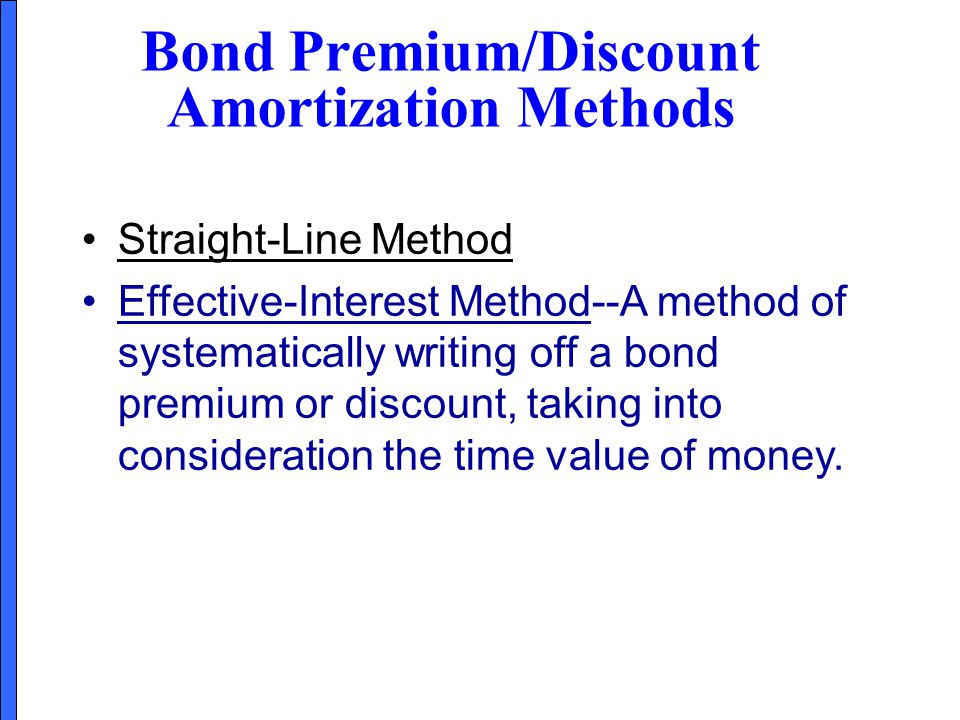 Straight-Line Method Effective-Interest Method--A method of systematically writing off a bond premium or discount, taking into consideration the time