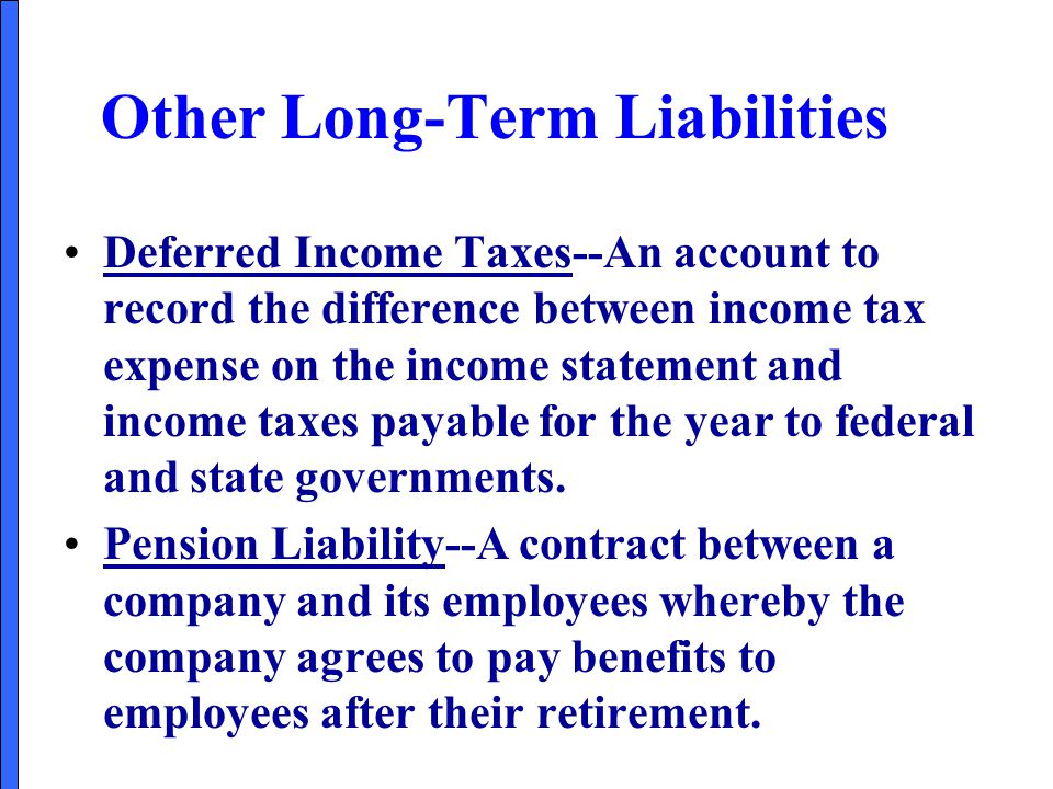Other Long-Term Liabilities Deferred Income Taxes--An account to record the difference between income tax expense on the income statement and income t