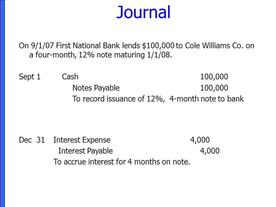 Journal On 9/1/07 First National Bank lends $100,000 to Cole Williams Co. on a four-month, 12% note maturing 1/1/08. Sept 1Cash100,000 Notes Payable10