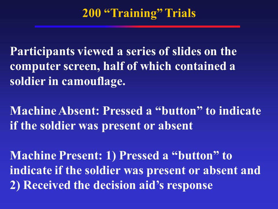 200 Training Trials Participants viewed a series of slides on the computer screen, half of which contained a soldier in camouflage.