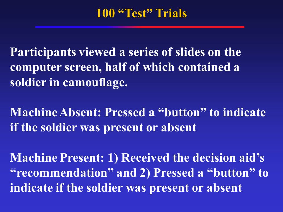 100 Test Trials Participants viewed a series of slides on the computer screen, half of which contained a soldier in camouflage.