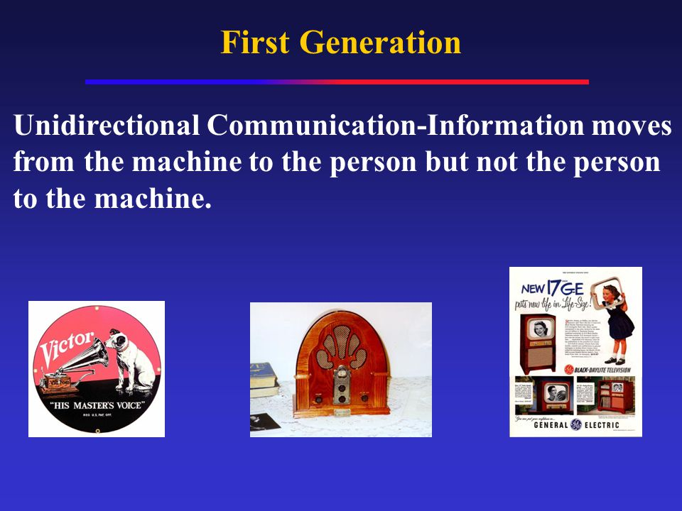 First Generation Unidirectional Communication-Information moves from the machine to the person but not the person to the machine.