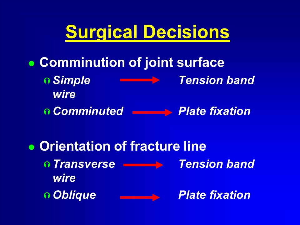 Surgical Decisions l Comminution of joint surface Ý SimpleTension band wire Ý ComminutedPlate fixation l Orientation of fracture line Ý TransverseTension band wire Ý ObliquePlate fixation