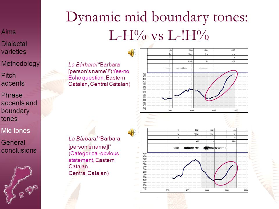 Sustained mid boundary tones: !H-!H% The same contour is produced with a proparoxitonic word: Aims Dialectal varieties Methodology Pitch accents Phrase accents and boundary tones Mid tones General conclusions Bàrbara.