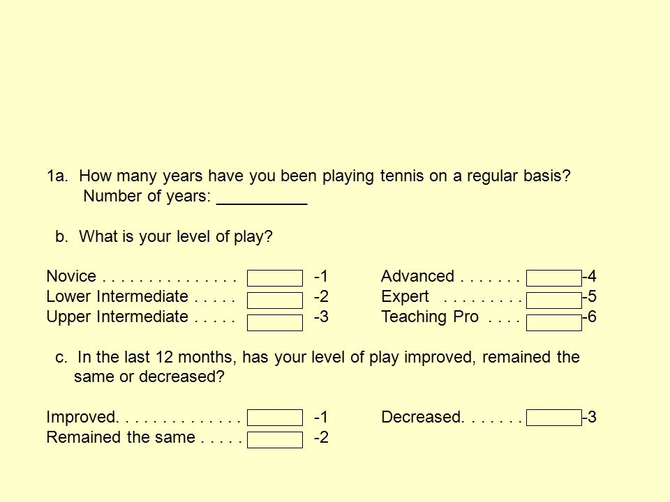 1a.How many years have you been playing tennis on a regular basis.