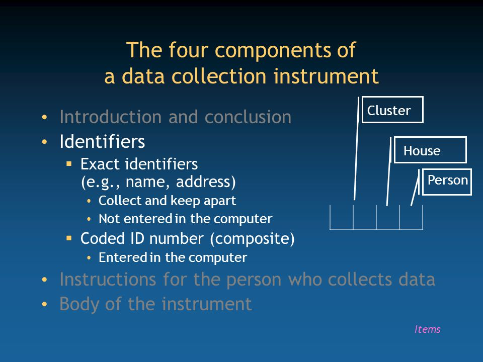 The four components of a data collection instrument Introduction and conclusion Identifiers  Exact identifiers (e.g., name, address) Collect and keep