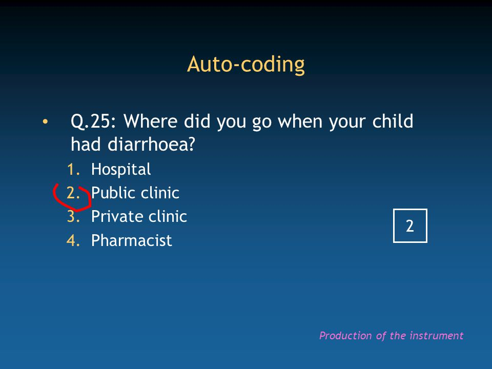 Auto-coding Q.25: Where did you go when your child had diarrhoea? 1.Hospital 2.Public clinic 3.Private clinic 4.Pharmacist 2 Production of the instrum