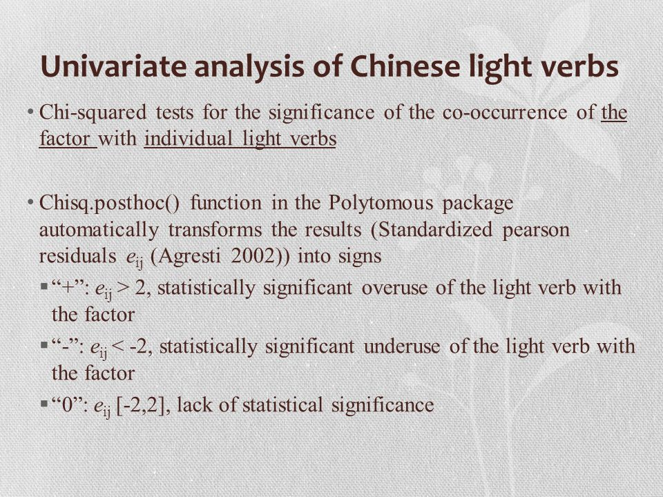 Univariate analysis of Chinese light verbs Chi-squared tests for the significance of the co-occurrence of the factor with individual light verbs Chisq.posthoc() function in the Polytomous package automatically transforms the results (Standardized pearson residuals e ij (Agresti 2002)) into signs  + : e ij > 2, statistically significant overuse of the light verb with the factor  - : e ij < -2, statistically significant underuse of the light verb with the factor  0 : e ij [-2,2], lack of statistical significance