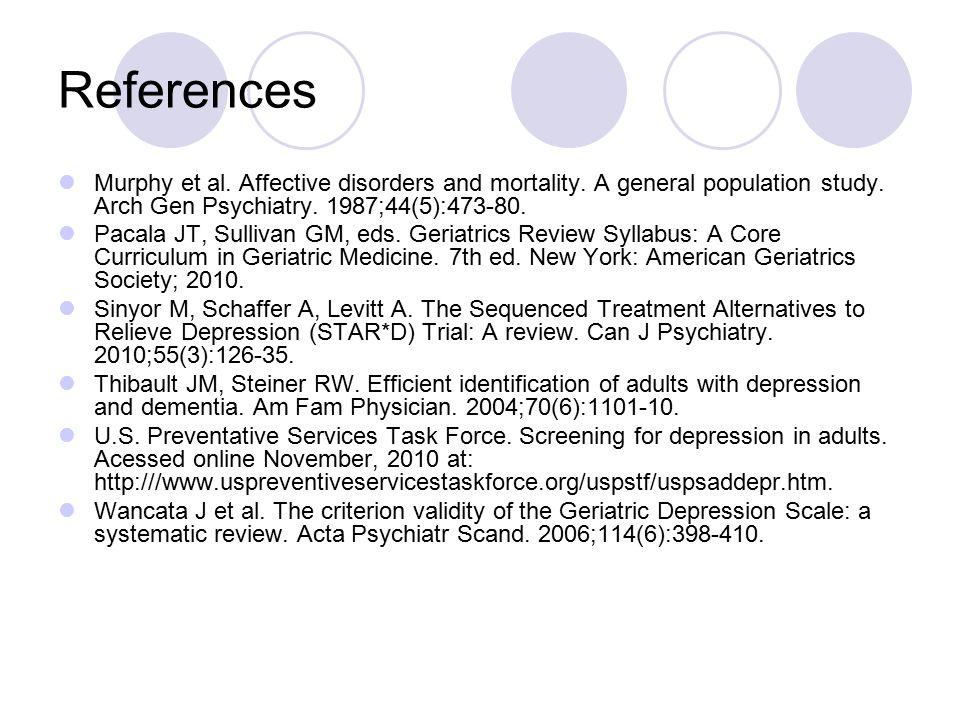 References Murphy et al. Affective disorders and mortality.