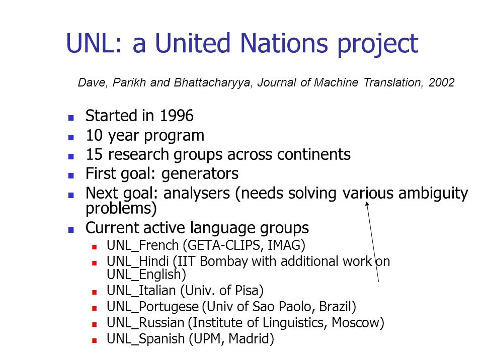 UNL: a United Nations project Started in 1996 10 year program 15 research groups across continents First goal: generators Next goal: analysers (needs