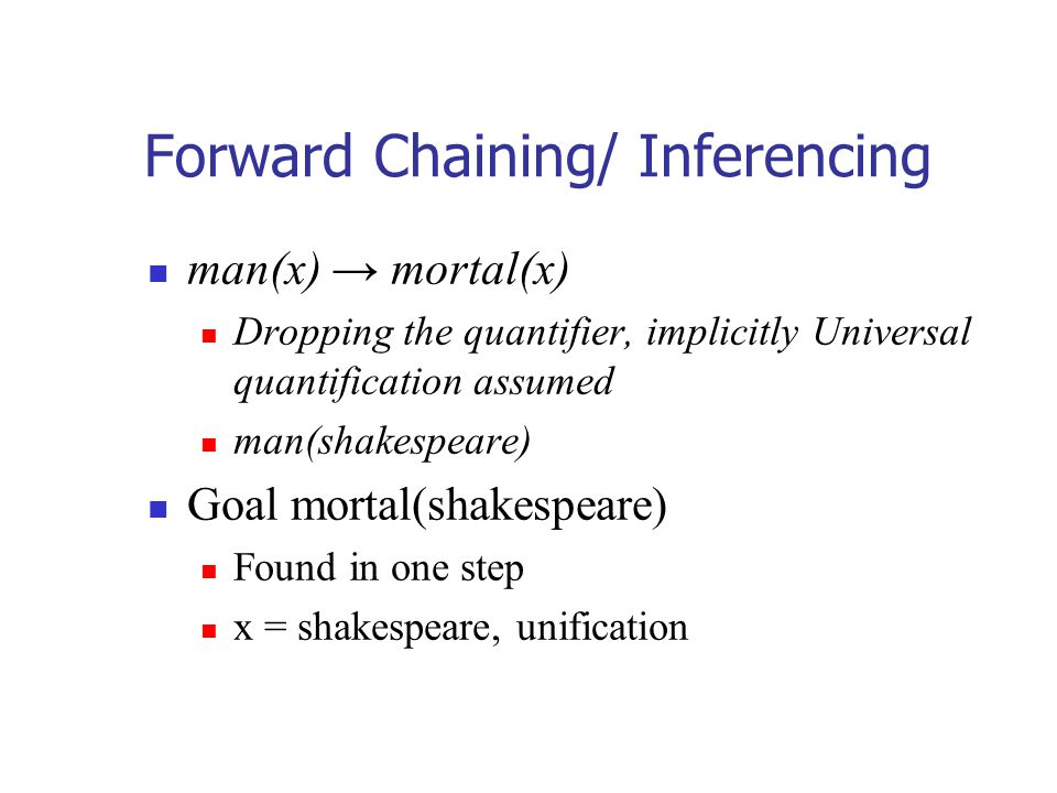 Forward Chaining/ Inferencing man(x) → mortal(x) Dropping the quantifier, implicitly Universal quantification assumed man(shakespeare) Goal mortal(sha