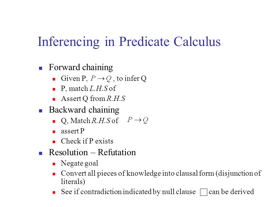 Inferencing in Predicate Calculus Forward chaining Given P,, to infer Q P, match L.H.S of Assert Q from R.H.S Backward chaining Q, Match R.H.S of asse