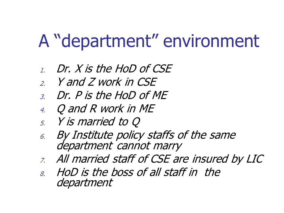 """A """"department"""" environment 1. Dr. X is the HoD of CSE 2. Y and Z work in CSE 3. Dr. P is the HoD of ME 4. Q and R work in ME 5. Y is married to Q 6. B"""