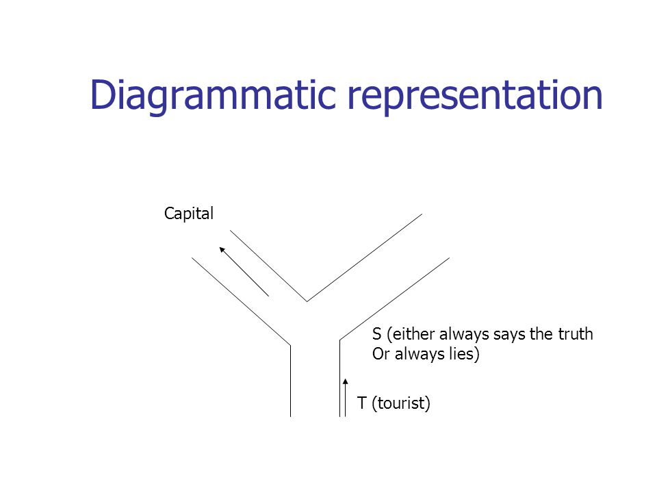 Diagrammatic representation S (either always says the truth Or always lies) T (tourist) Capital
