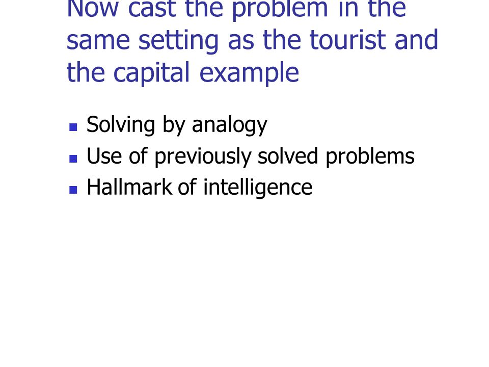 Now cast the problem in the same setting as the tourist and the capital example Solving by analogy Use of previously solved problems Hallmark of intelligence