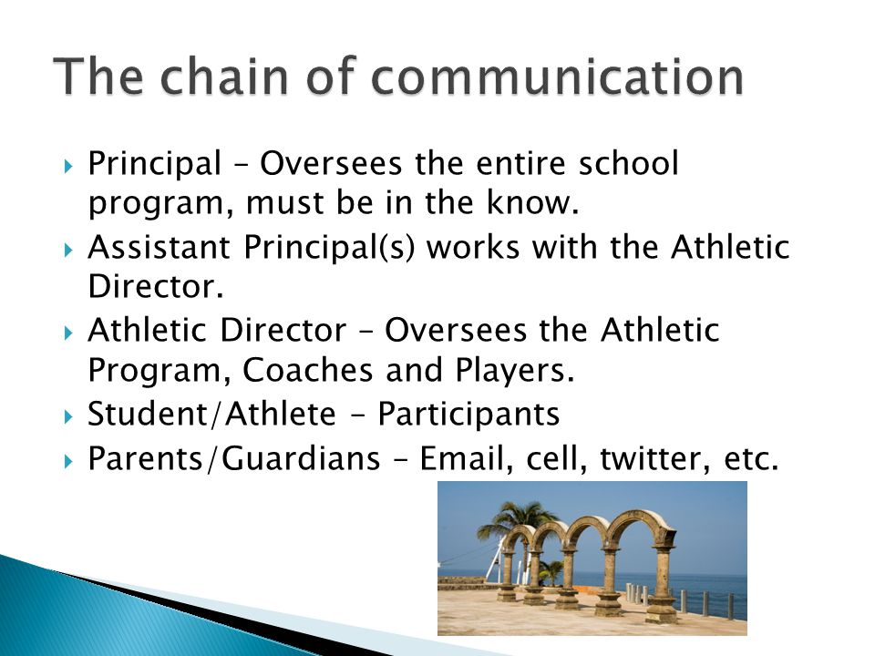  Principal – Oversees the entire school program, must be in the know.  Assistant Principal(s) works with the Athletic Director.  Athletic Director