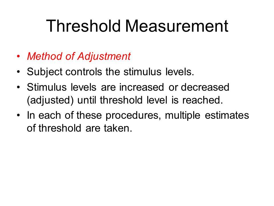 Threshold Measurement Method of Adjustment Subject controls the stimulus levels.