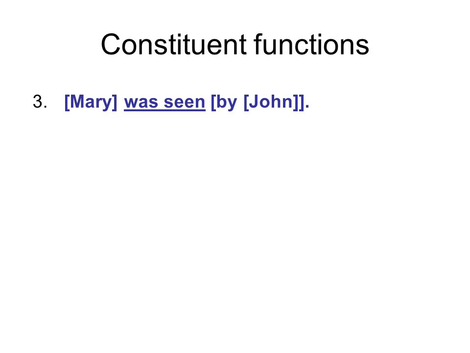 Constituent functions 3.[Mary] was seen [by [John]].
