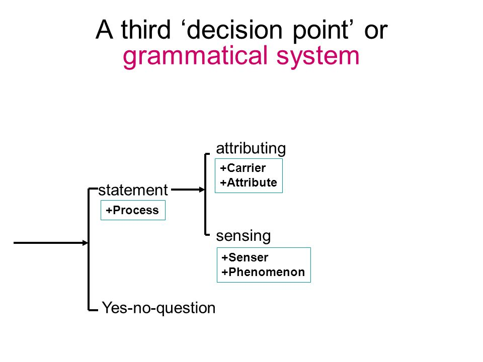 A third 'decision point' or grammatical system statement Yes-no-question +Senser +Phenomenon sensing attributing +Carrier +Attribute +Process