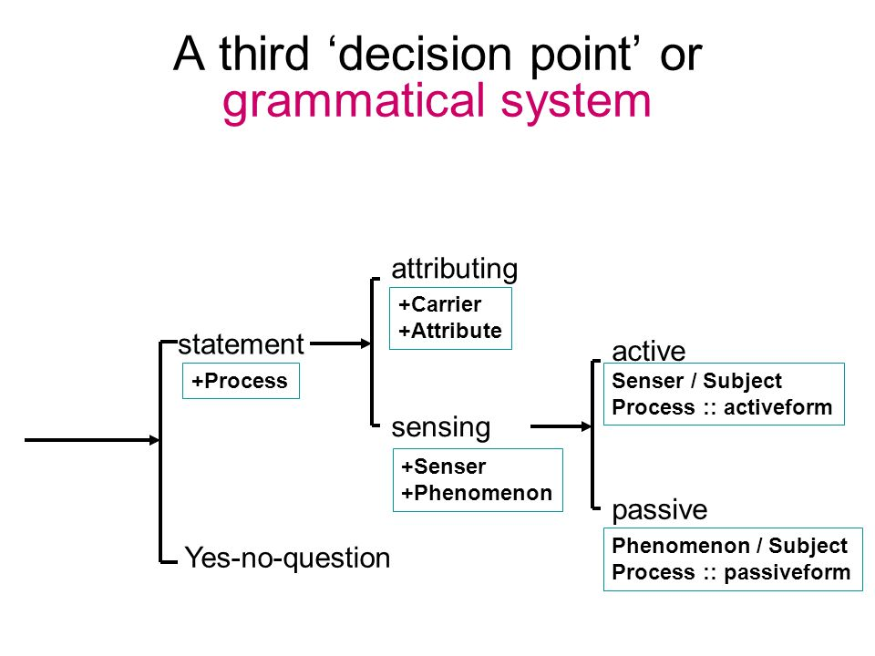 A third 'decision point' or grammatical system statement Yes-no-question +Senser +Phenomenon sensing attributing +Carrier +Attribute +Process passive active Senser / Subject Process :: activeform Phenomenon / Subject Process :: passiveform