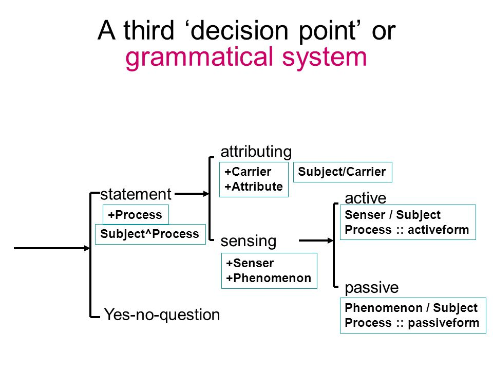 A third 'decision point' or grammatical system statement Yes-no-question +Senser +Phenomenon sensing attributing +Carrier +Attribute +Process passive active Senser / Subject Process :: activeform Phenomenon / Subject Process :: passiveform Subject^Process Subject/Carrier