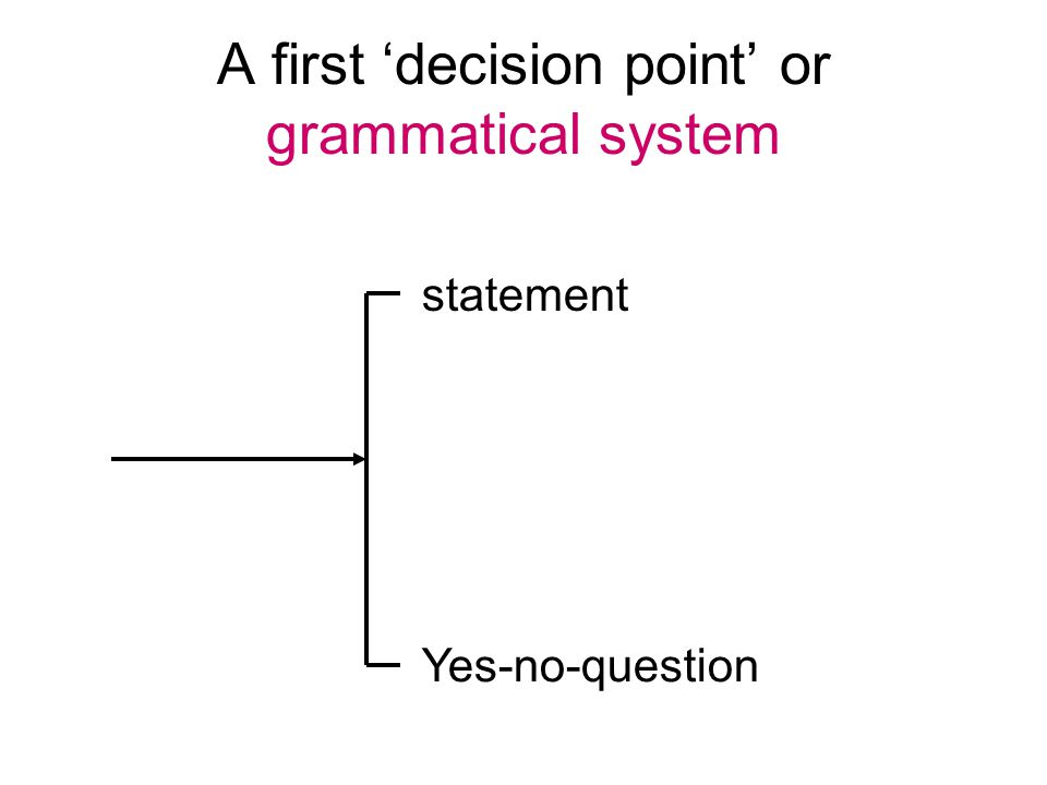 A first 'decision point' or grammatical system statement Yes-no-question