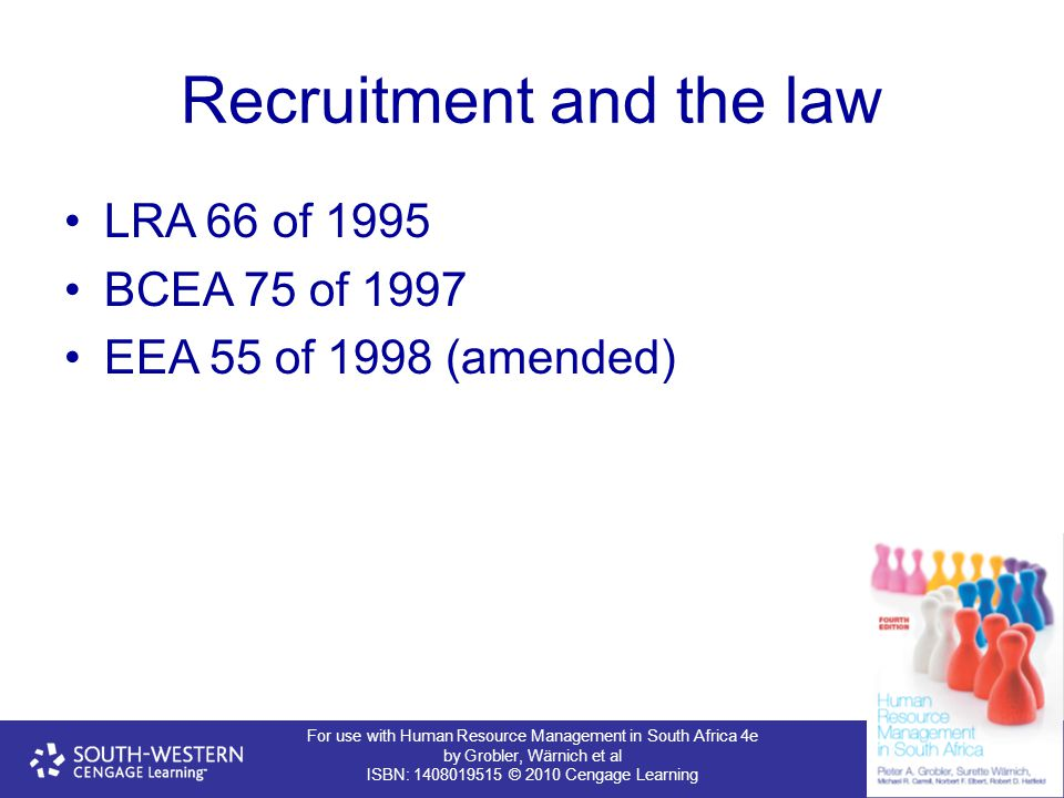 For use with Human Resource Management in South Africa 4e by Grobler, Wärnich et al ISBN: 1408019515 © 2010 Cengage Learning Recruitment and the law LRA 66 of 1995 BCEA 75 of 1997 EEA 55 of 1998 (amended)