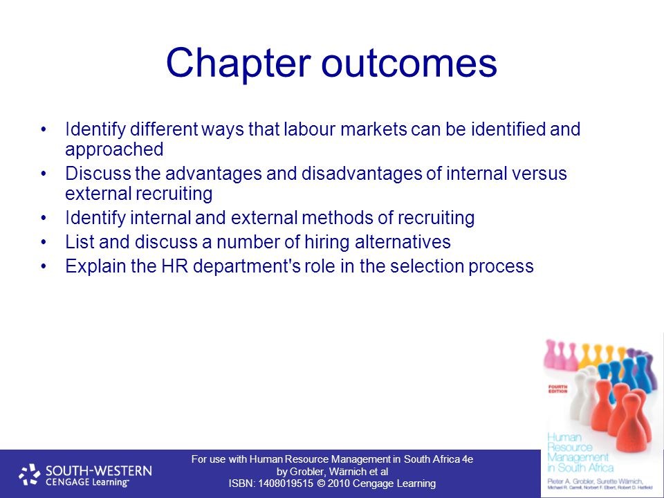 For use with Human Resource Management in South Africa 4e by Grobler, Wärnich et al ISBN: 1408019515 © 2010 Cengage Learning Chapter outcomes Identify different ways that labour markets can be identified and approached Discuss the advantages and disadvantages of internal versus external recruiting Identify internal and external methods of recruiting List and discuss a number of hiring alternatives Explain the HR department s role in the selection process