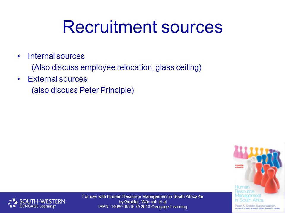For use with Human Resource Management in South Africa 4e by Grobler, Wärnich et al ISBN: 1408019515 © 2010 Cengage Learning Recruitment sources Internal sources (Also discuss employee relocation, glass ceiling) External sources (also discuss Peter Principle)