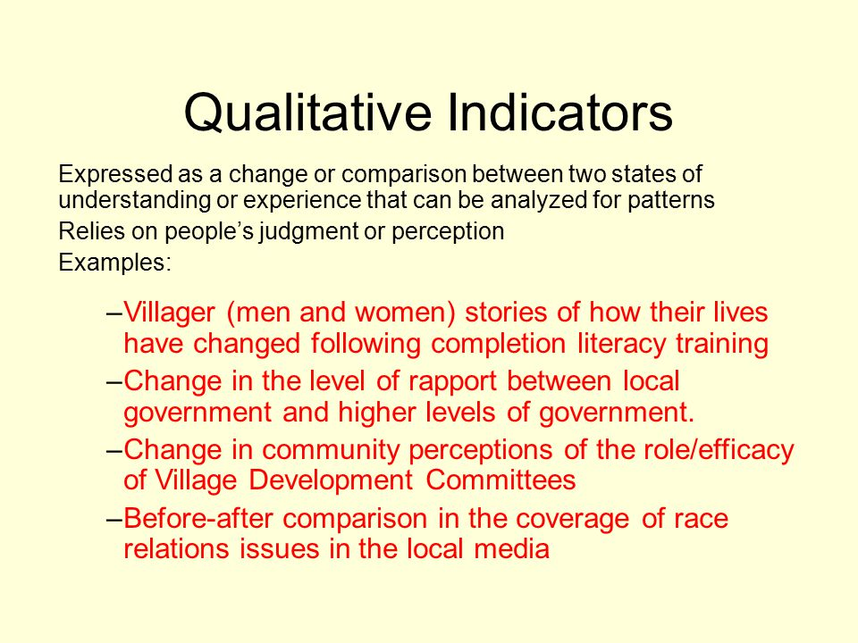 Qualitative Indicators Expressed as a change or comparison between two states of understanding or experience that can be analyzed for patterns Relies