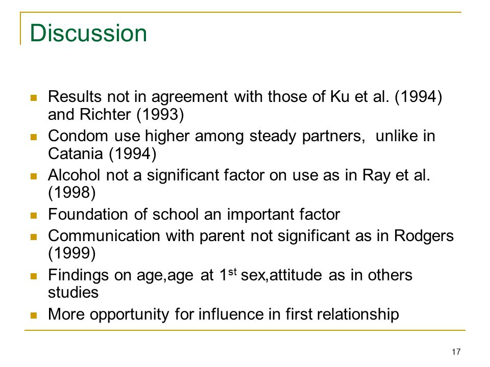 17 Discussion Results not in agreement with those of Ku et al.