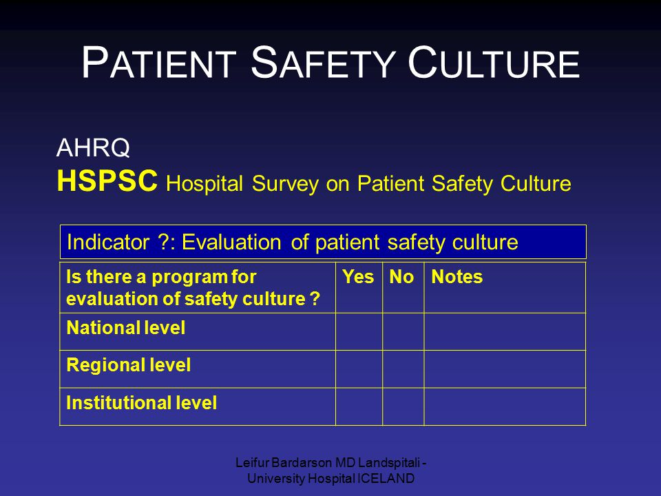Leifur Bardarson MD Landspitali - University Hospital ICELAND AHRQ HSPSC Hospital Survey on Patient Safety Culture P ATIENT S AFETY C ULTURE Is there