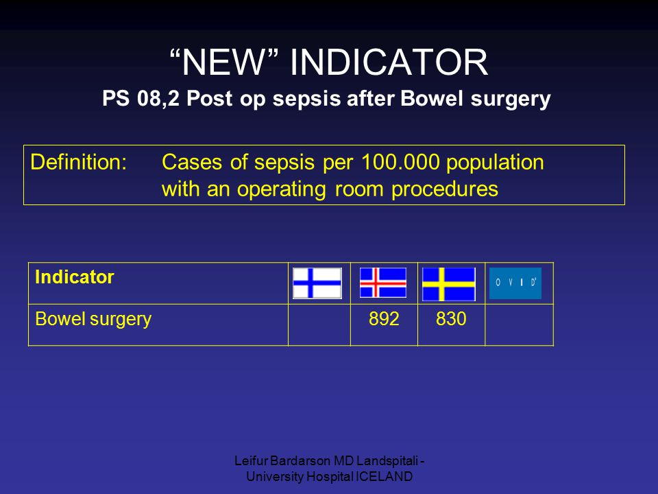 "Leifur Bardarson MD Landspitali - University Hospital ICELAND ""NEW"" INDICATOR PS 08,2 Post op sepsis after Bowel surgery Definition: Cases of sepsis p"