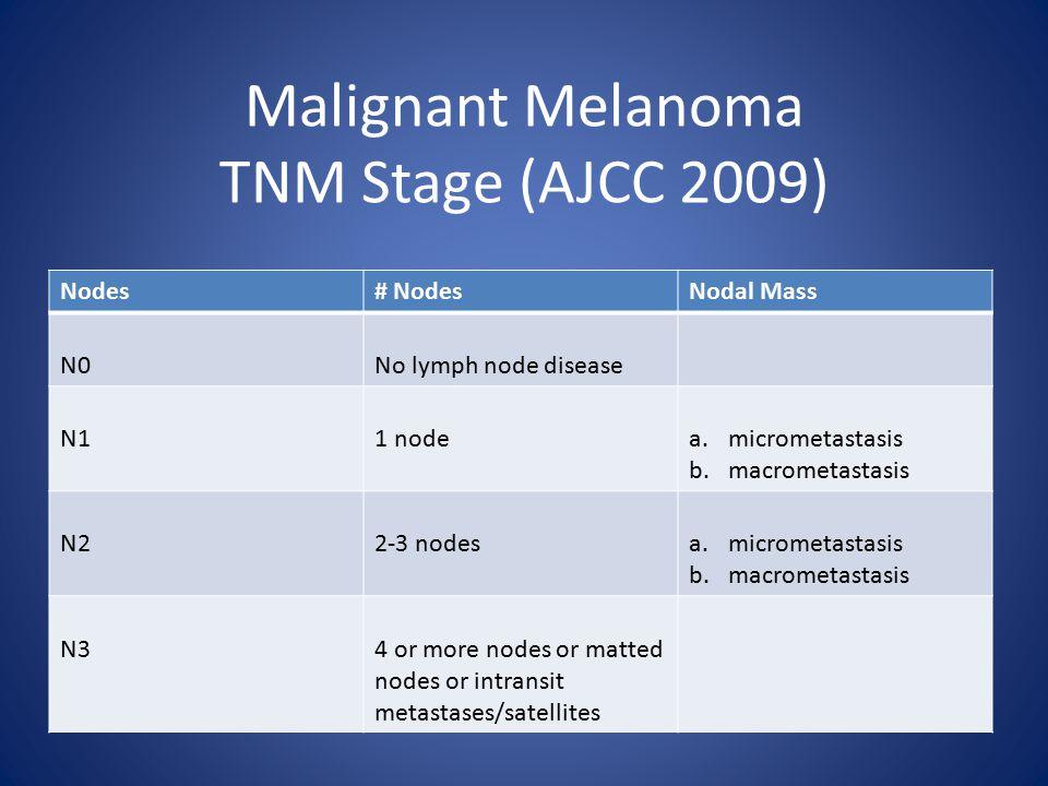 Malignant Melanoma TNM Stage (AJCC 2009) Nodes# NodesNodal Mass N0No lymph node disease N11 nodea.micrometastasis b.macrometastasis N22-3 nodesa.micrometastasis b.macrometastasis N34 or more nodes or matted nodes or intransit metastases/satellites