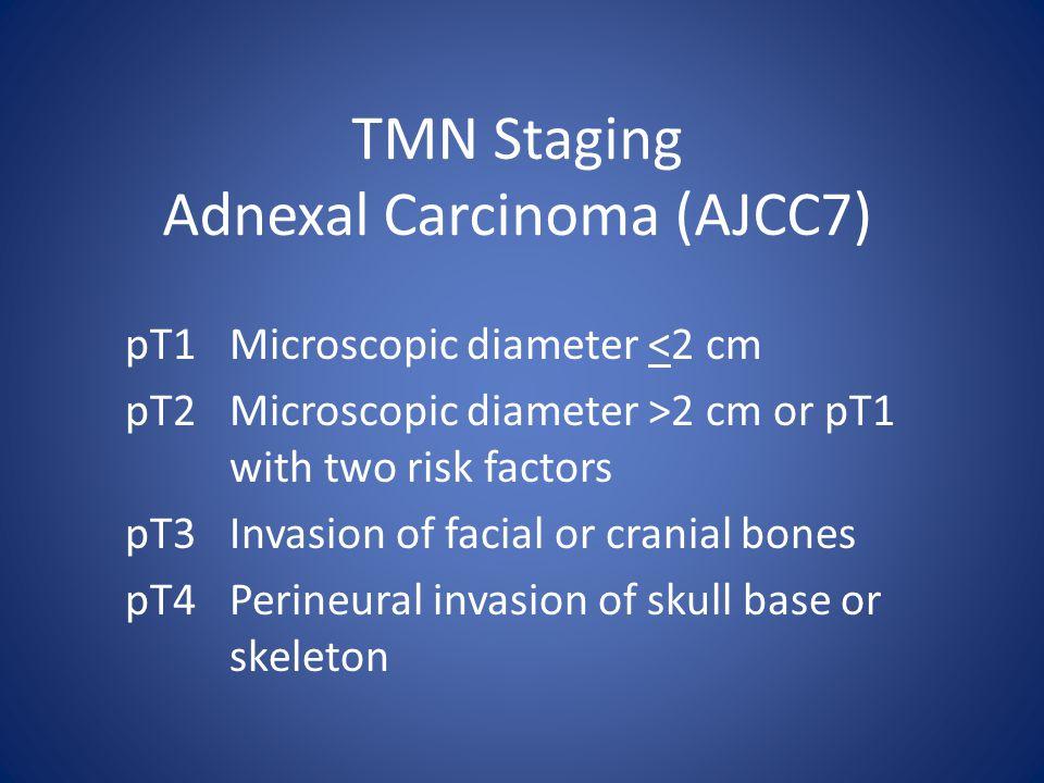 TMN Staging Adnexal Carcinoma (AJCC7) pT1Microscopic diameter <2 cm pT2Microscopic diameter >2 cm or pT1 with two risk factors pT3Invasion of facial or cranial bones pT4Perineural invasion of skull base or skeleton