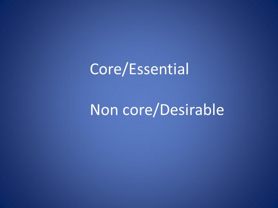 Core/Essential Non core/Desirable