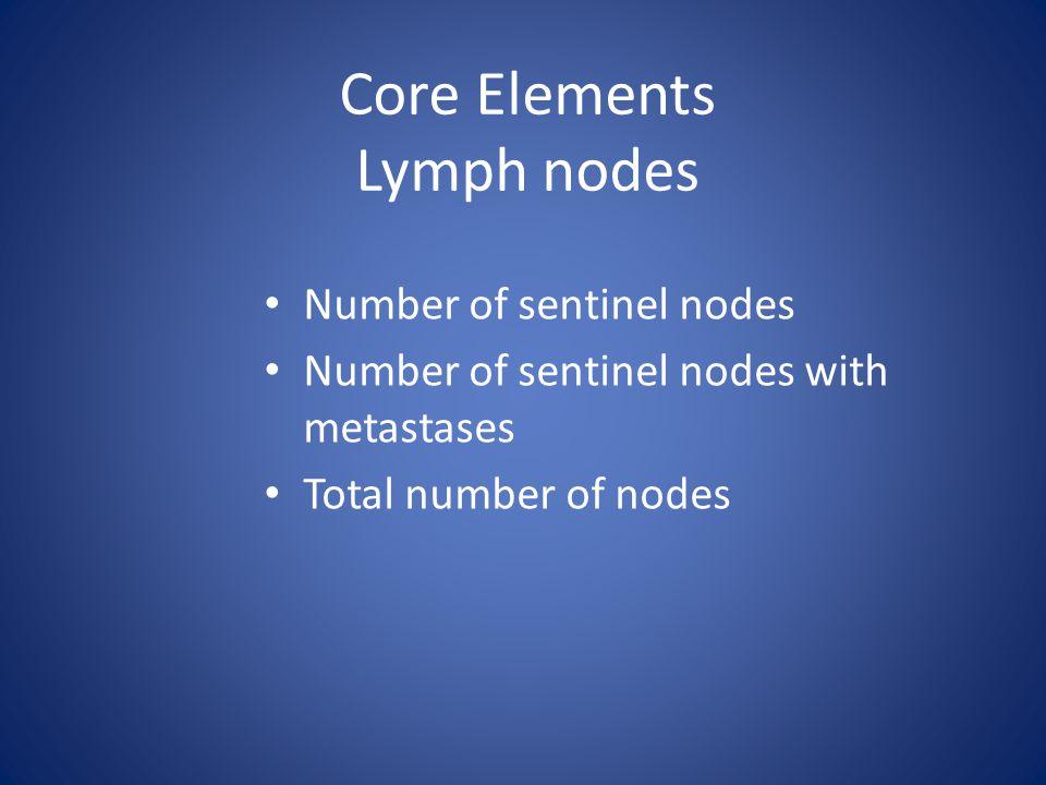Core Elements Lymph nodes Number of sentinel nodes Number of sentinel nodes with metastases Total number of nodes
