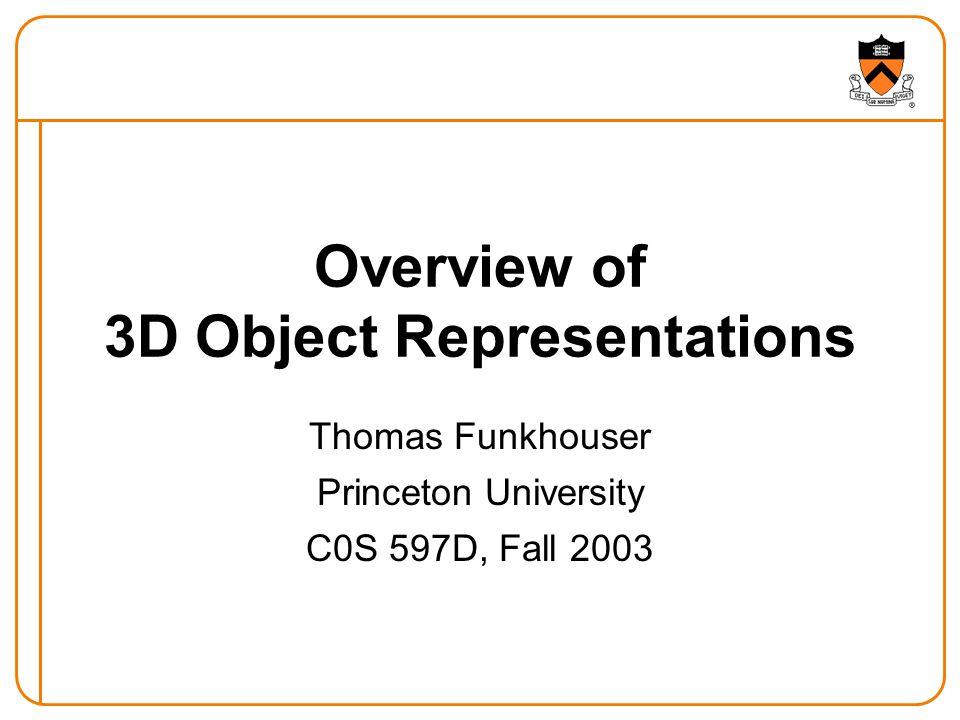 Deformable Models Represent model as union of part primitives Robert Osada