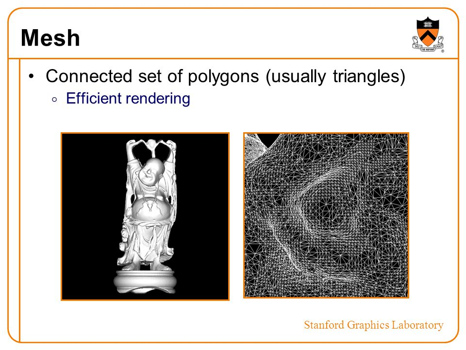 Mesh Connected set of polygons (usually triangles)  Efficient rendering Stanford Graphics Laboratory