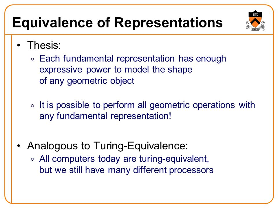 Equivalence of Representations Thesis:  Each fundamental representation has enough expressive power to model the shape of any geometric object  It is possible to perform all geometric operations with any fundamental representation.