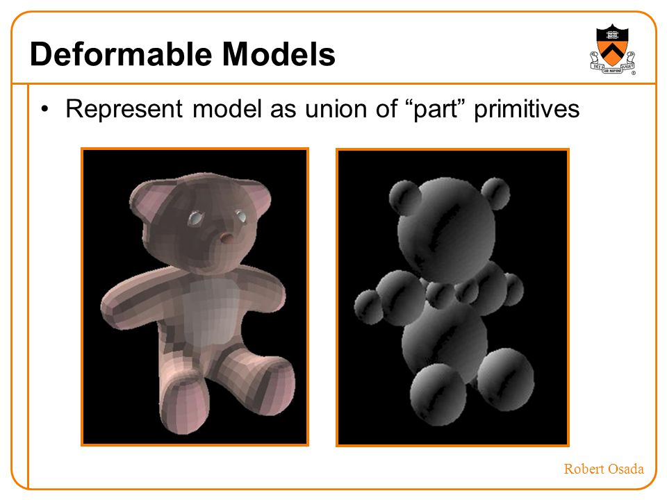 Deformable Models Represent model as union of part primitives Robert Osada