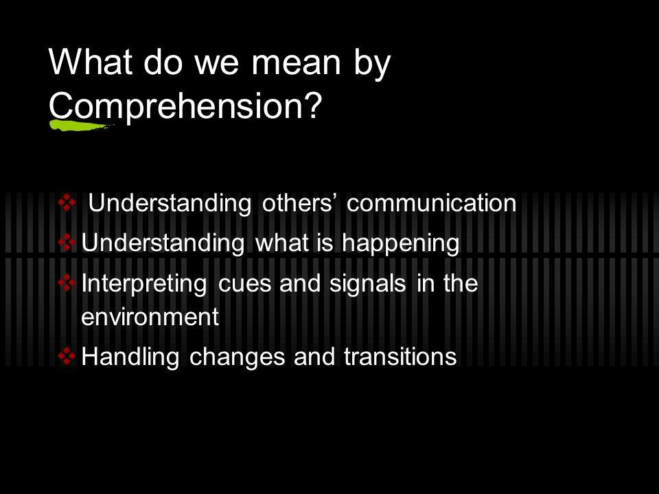 LANGUAGE COMPREHENSION CHECKLIST