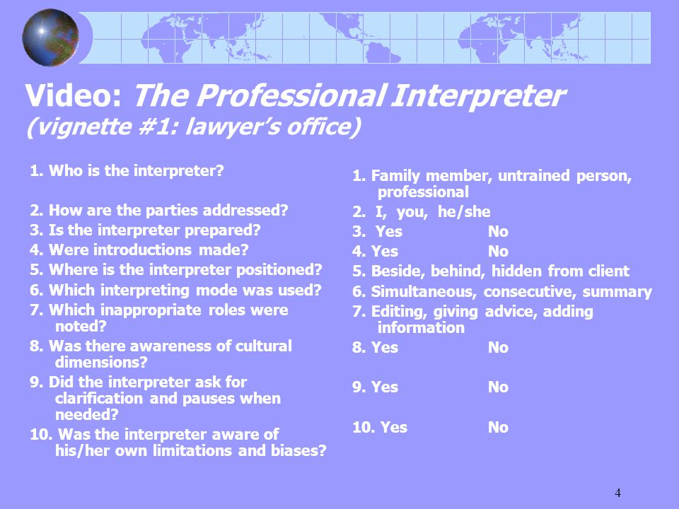 4 Video: The Professional Interpreter (vignette #1: lawyer's office) 1. Who is the interpreter? 2. How are the parties addressed? 3. Is the interprete