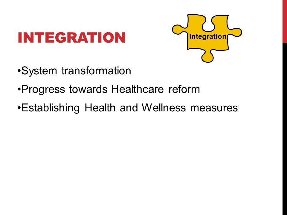 INTEGRATION System transformation Progress towards Healthcare reform Establishing Health and Wellness measures Integration